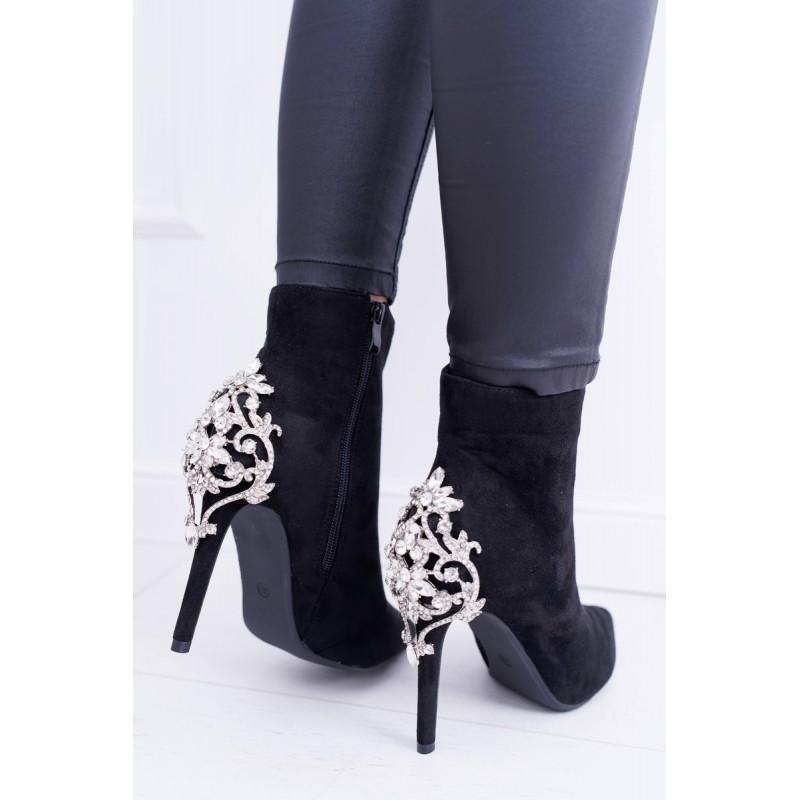 Luxusní dámské černé kotníkové boty na vysokém podpatku se štrasem d8982a5153