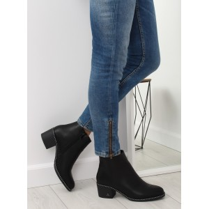 Dámské černé kotníkové boty zimní s bočním zipem a na podpatku