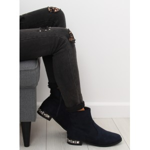 Tmavě-modré kotníkové zimní boty s trendy kamínkovým podpatkem
