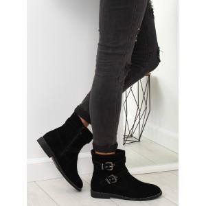 Dámské zimní černé kotníkové boty s přezkami a kamínky v lemu