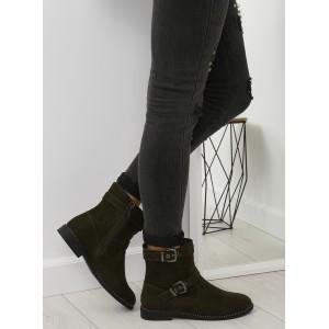 Trendy zelené zimní kotníkové boty s bočním zipem a přezkami