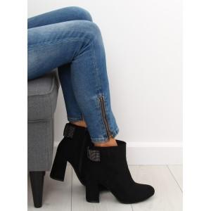 Černé kotníkové kozačky na módním podpatku a s ozdobnou mašlí