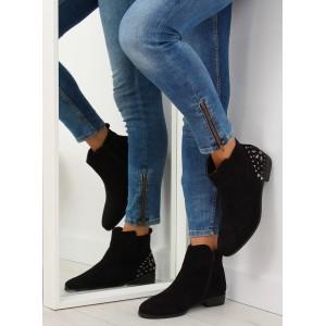 Černé kotníkové nízké boty na zimu s bočním zipem a kamínky