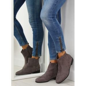 Nízké kotníkové šedé boty s bočním zipem a ozdobným vybíjením
