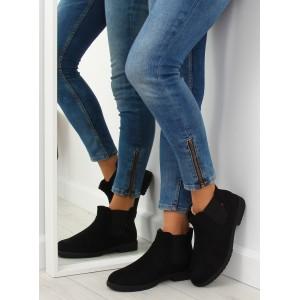 Dámské černé nasouvací kotníkové boty na zimu s boční gumou