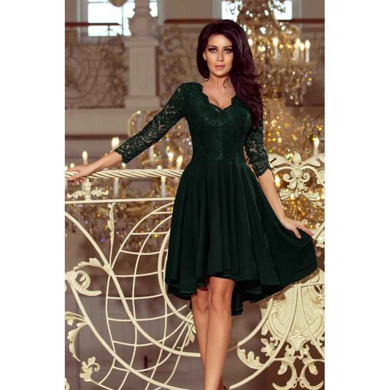 254d822d3547 Krátké společenské šaty zelené barvy s krajkou