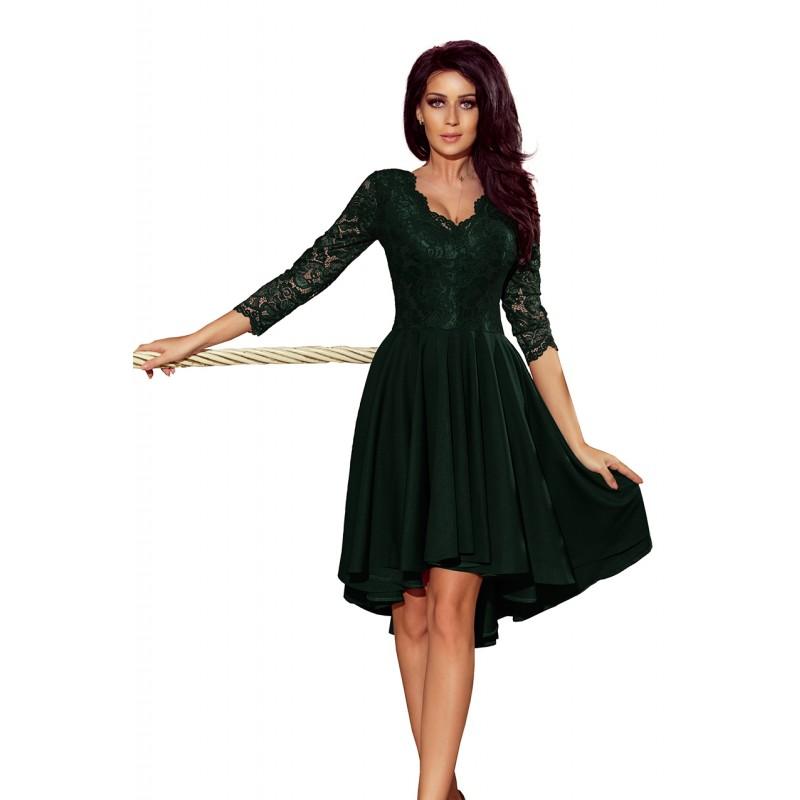 fe44faa018d3 Krátké společenské šaty zelené barvy s krajkou