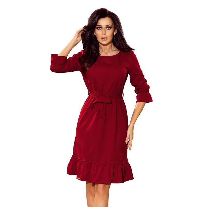 eb38a9ea0 Vínové dámské šaty na ples s opaskem